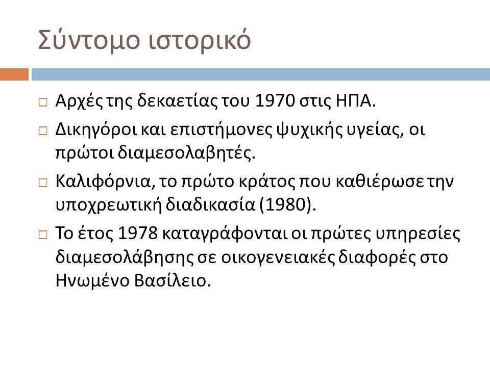 Σύντομο ιστορικό Αρχές της δεκαετίας του 1970 στις ΗΠΑ.