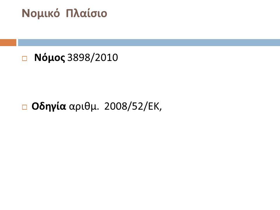 Nομικό Πλαίσιο Νόμος 3898/2010 Οδηγία αριθμ. 2008/52/ΕΚ,