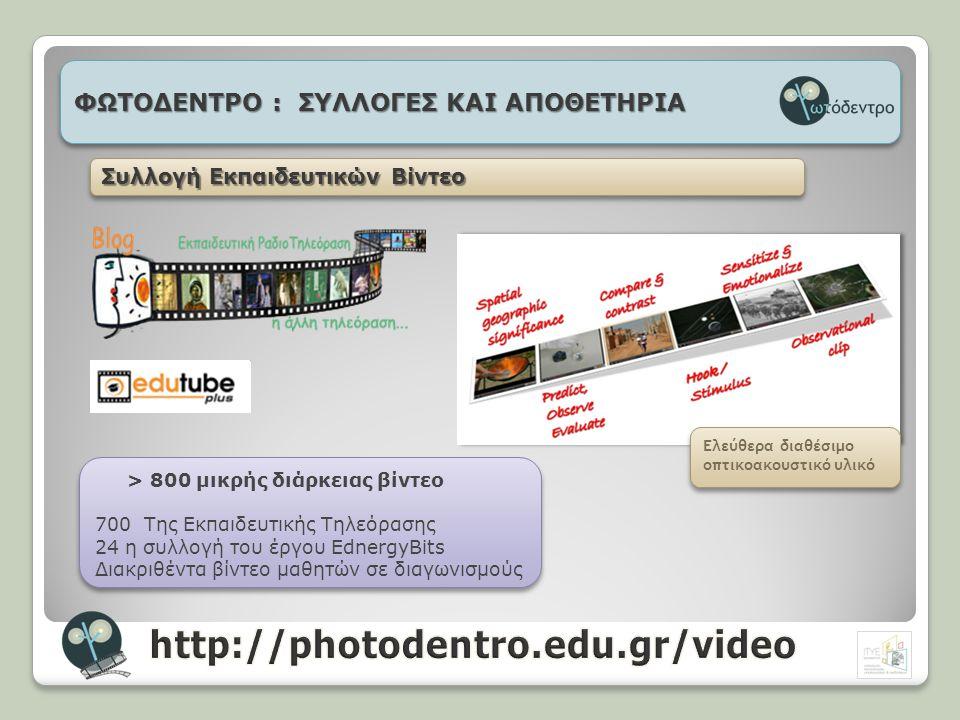 http://photodentro.edu.gr/video ΦΩΤΟΔΕΝΤΡΟ : ΣΥΛΛΟΓΕΣ ΚΑΙ ΑΠΟΘΕΤΗΡΙΑ