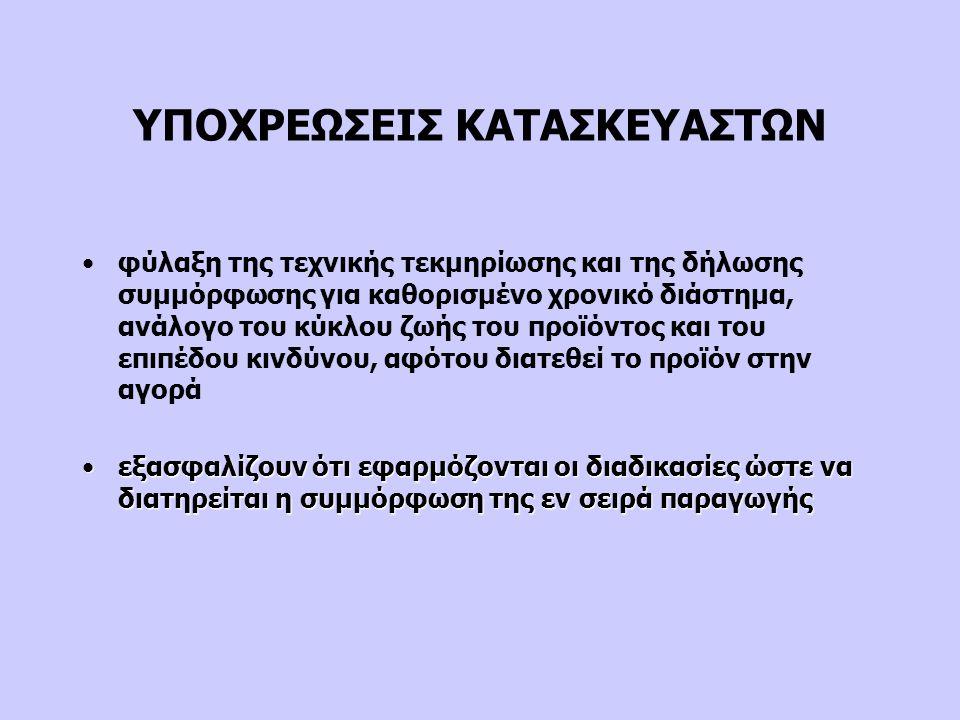 ΥΠΟΧΡΕΩΣΕΙΣ ΚΑΤΑΣΚΕΥΑΣΤΩΝ