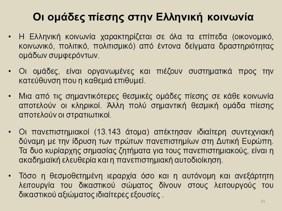 Οι ομάδες πίεσης στην Ελληνική κοινωνία