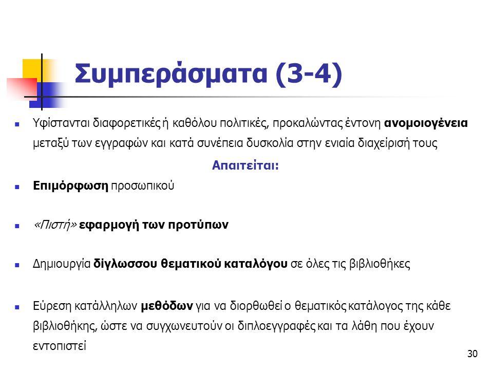 Συμπεράσματα (3-4) Απαιτείται: