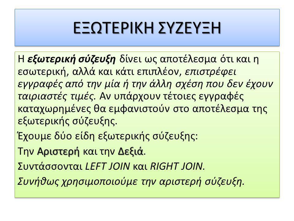 ΕΞΩΤΕΡΙΚΗ ΣΥΖΕΥΞΗ