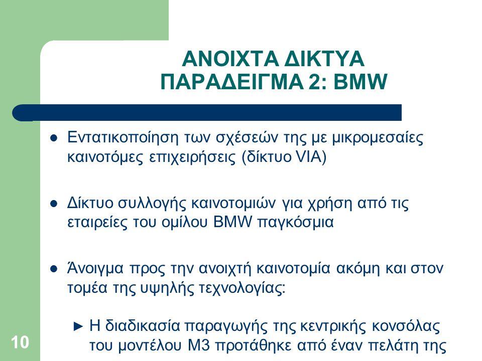 ΑΝΟΙΧΤΑ ΔΙΚΤΥΑ ΠΑΡΑΔΕΙΓΜΑ 2: BMW