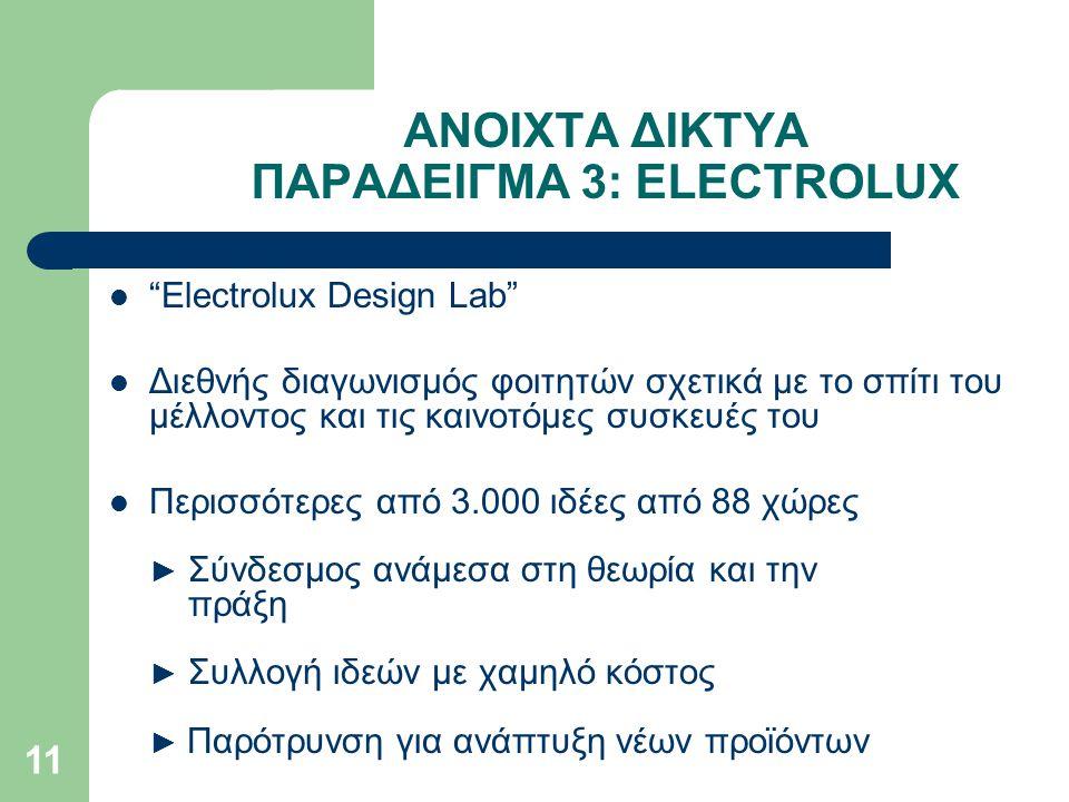 ΑΝΟΙΧΤΑ ΔΙΚΤΥΑ ΠΑΡΑΔΕΙΓΜΑ 3: ELECTROLUX