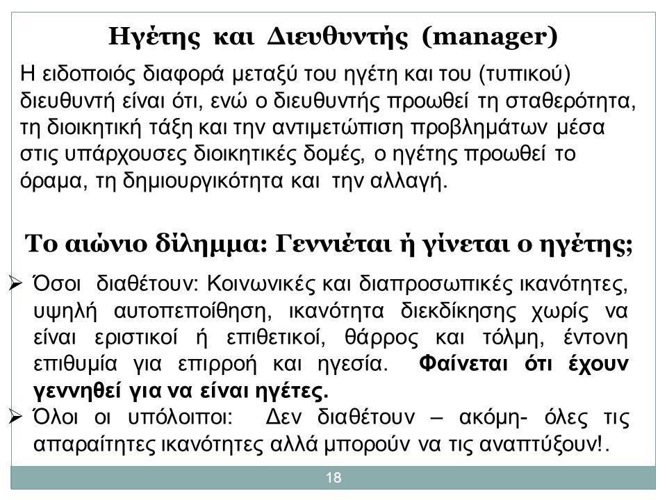 Ηγέτης και Διευθυντής (manager)