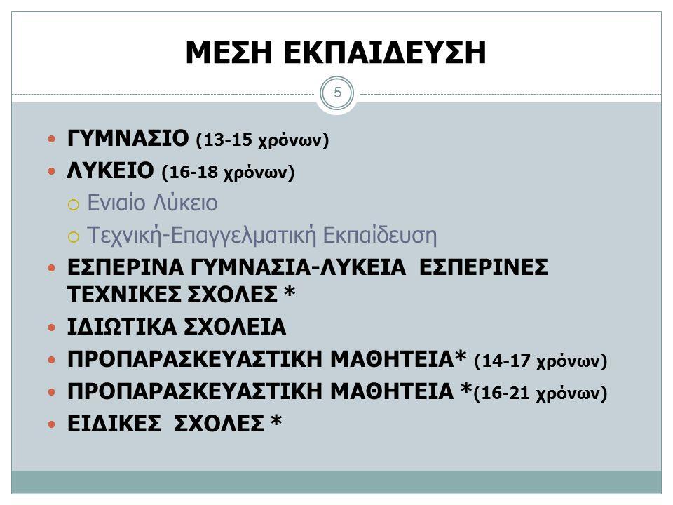 ΜΕΣΗ ΕΚΠΑΙΔΕΥΣΗ ΓΥΜΝΑΣΙΟ (13-15 χρόνων) ΛΥΚΕΙΟ (16-18 χρόνων)