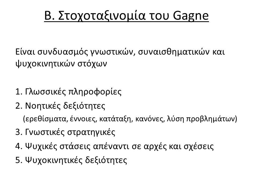 Β. Στοχοταξινομία του Gagne