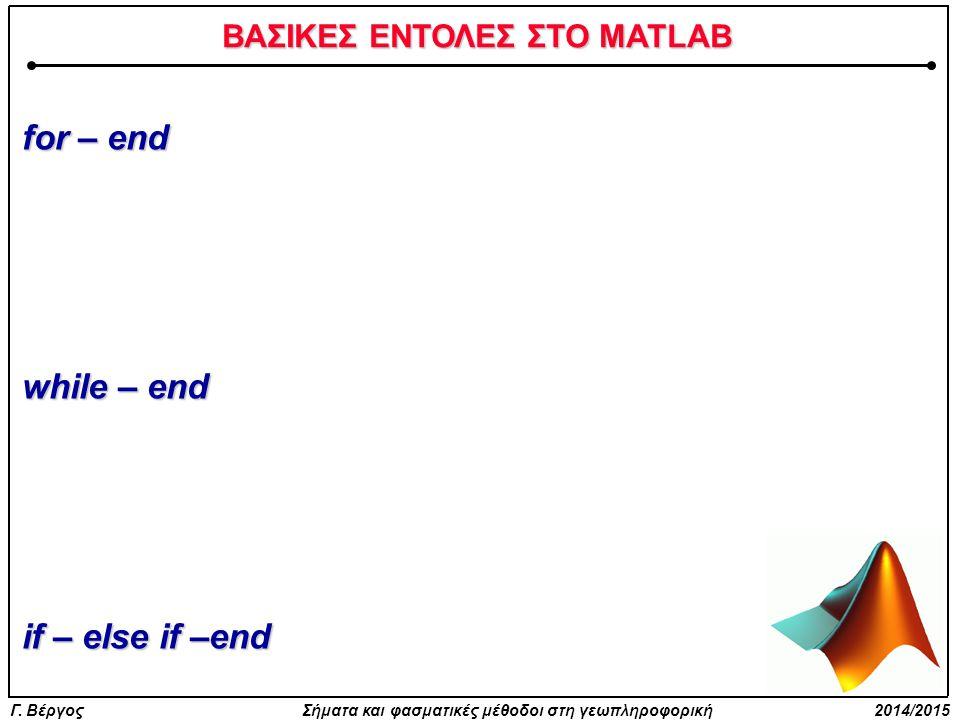 ΒΑΣΙΚΕΣ ΕΝΤΟΛΕΣ ΣΤΟ MATLAB