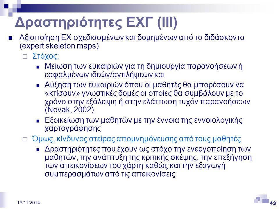 Δραστηριότητες ΕΧΓ (ΙΙΙ)