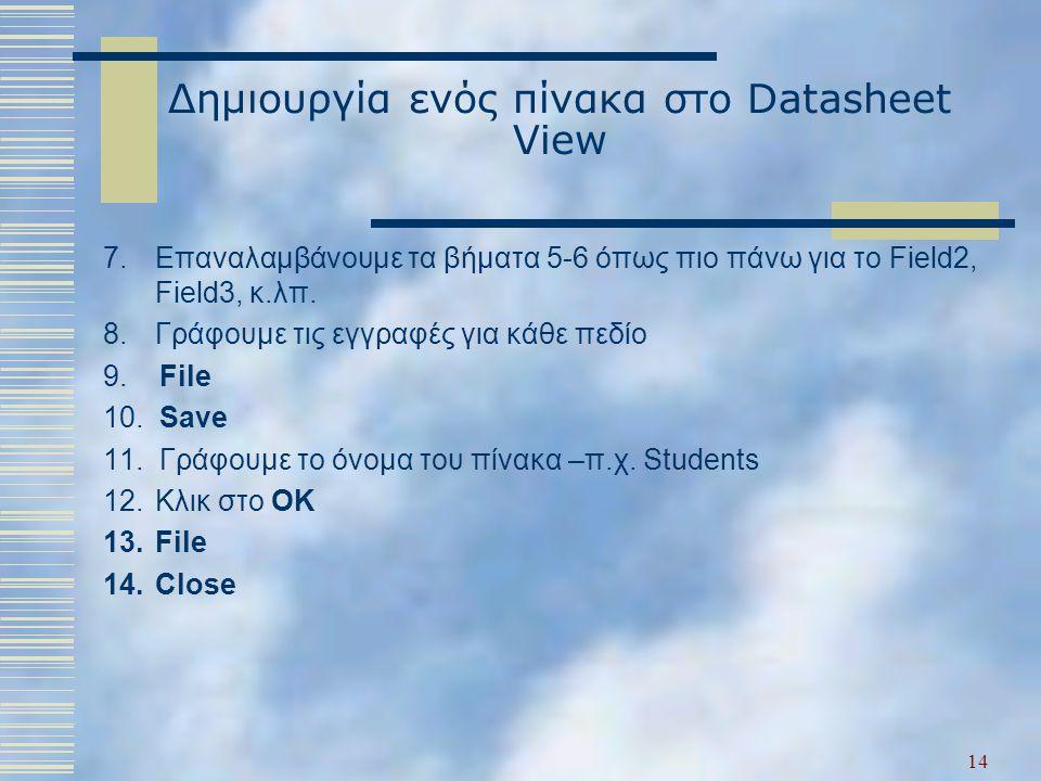 Δημιουργία ενός πίνακα στο Datasheet View