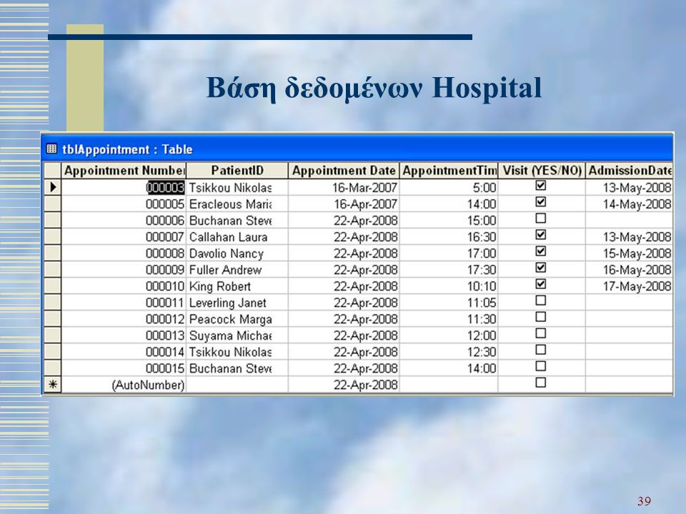 Βάση δεδομένων Hospital