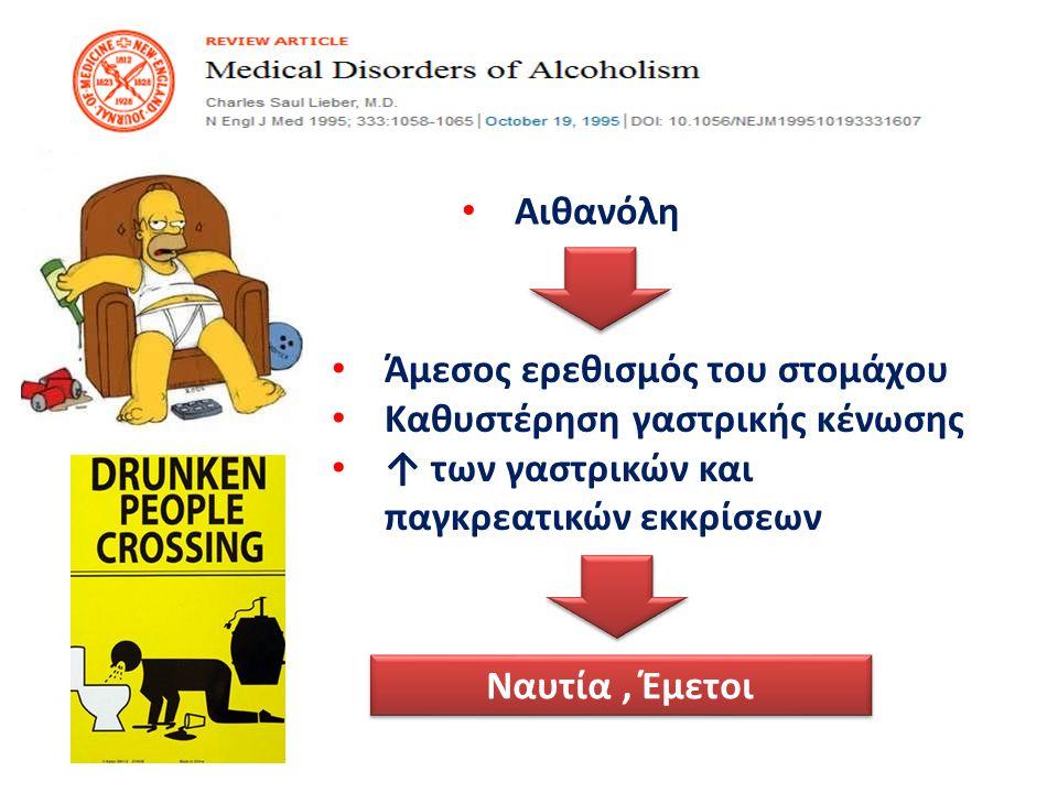 Αιθανόλη Άμεσος ερεθισμός του στομάχου. Καθυστέρηση γαστρικής κένωσης. ↑ των γαστρικών και παγκρεατικών εκκρίσεων.