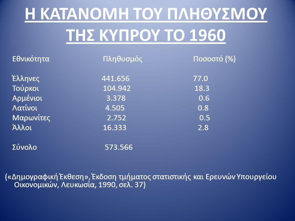 Η ΚΑΤΑΝΟΜΗ ΤΟΥ ΠΛΗΘΥΣΜΟΥ ΤΗΣ ΚΥΠΡΟΥ ΤΟ 1960