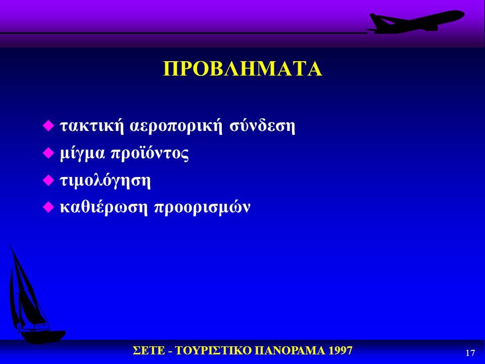 ΠΡΟΒΛΗΜΑΤΑ τακτική αεροπορική σύνδεση μίγμα προϊόντος τιμολόγηση