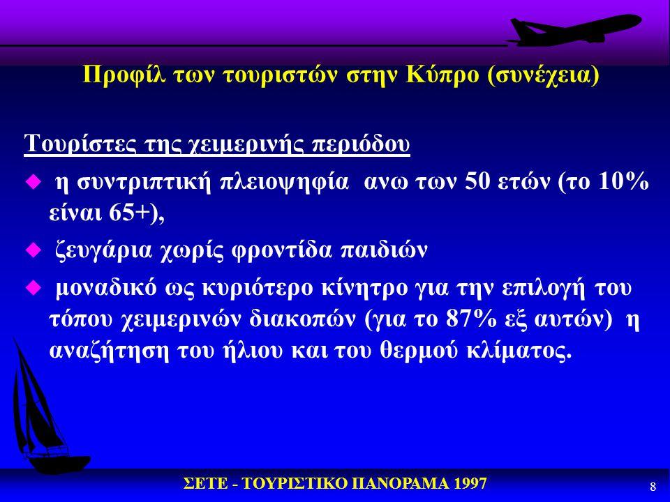 Προφίλ των τουριστών στην Κύπρο (συνέχεια)
