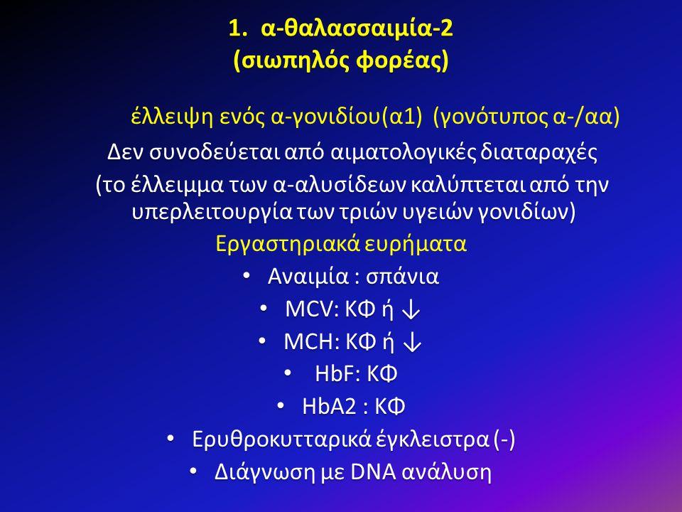 1. α-θαλασσαιμία-2 (σιωπηλός φορέας)