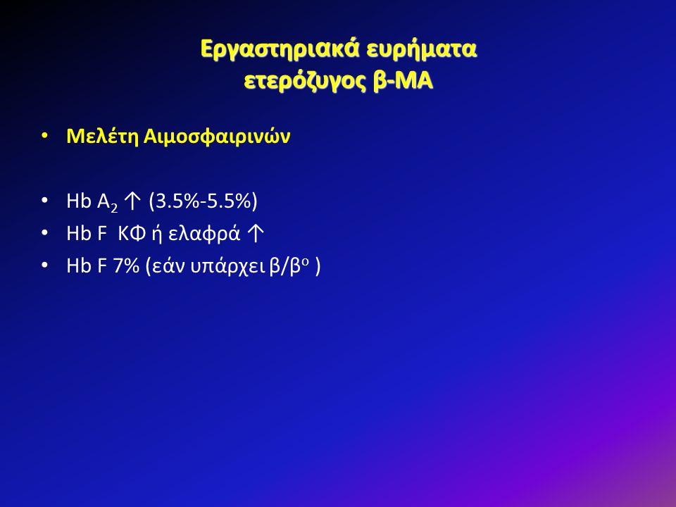 Εργαστηριακά ευρήματα ετερόζυγος β-ΜΑ