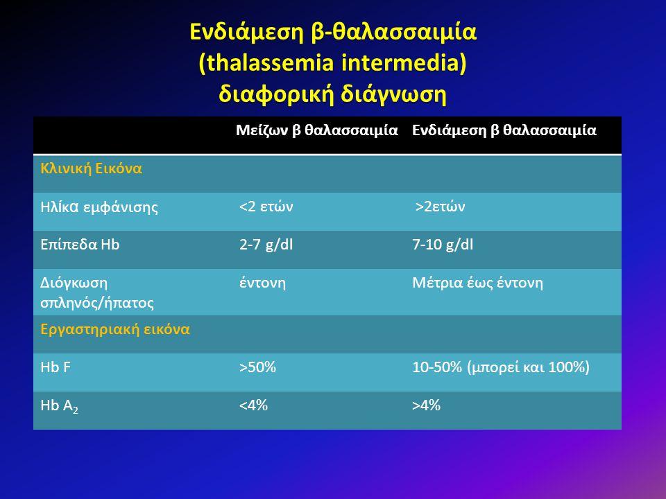 Ενδιάμεση β-θαλασσαιμία (thalassemia intermedia) διαφορική διάγνωση
