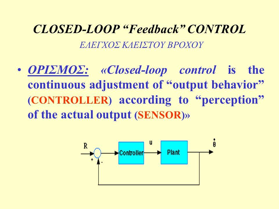 CLOSED-LOOP Feedback CONTROL ΕΛΕΓΧΟΣ ΚΛΕΙΣΤΟΥ ΒΡΟΧΟΥ