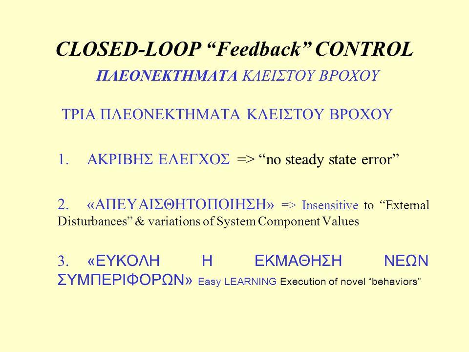 CLOSED-LOOP Feedback CONTROL ΠΛΕΟΝΕΚΤΗΜΑΤΑ ΚΛΕΙΣΤΟΥ ΒΡΟΧΟΥ
