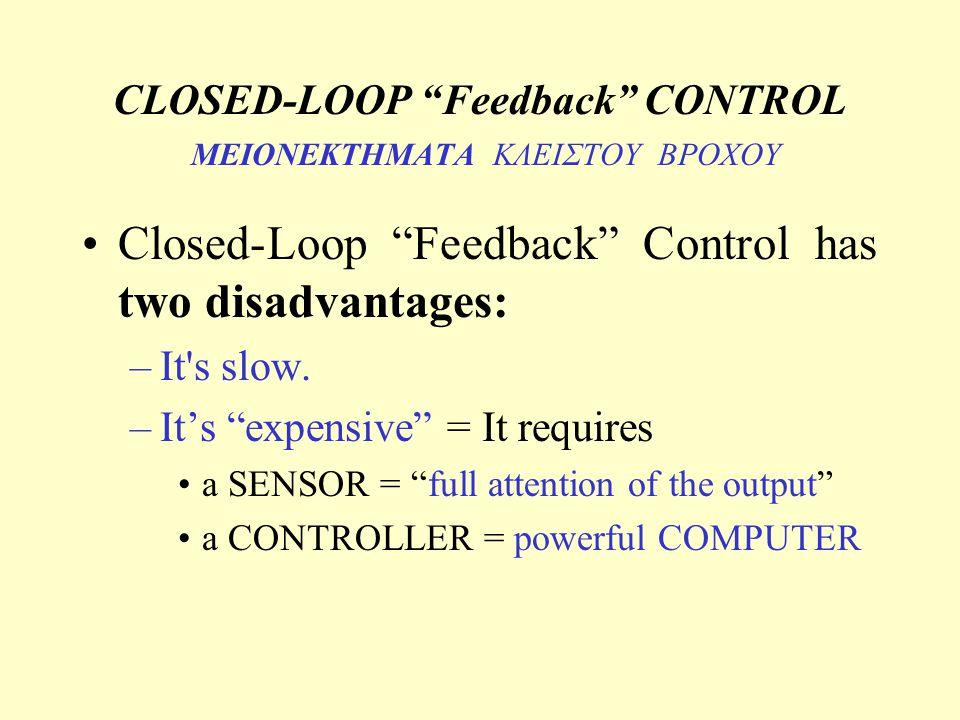 CLOSED-LOOP Feedback CONTROL ΜΕΙΟΝΕΚΤΗΜΑΤΑ ΚΛΕΙΣΤΟΥ ΒΡΟΧΟΥ