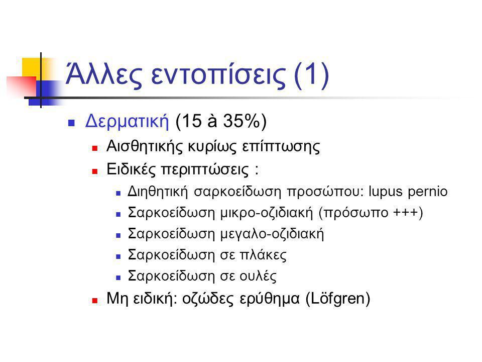 Άλλες εντοπίσεις (1) Δερματική (15 à 35%) Αισθητικής κυρίως επίπτωσης