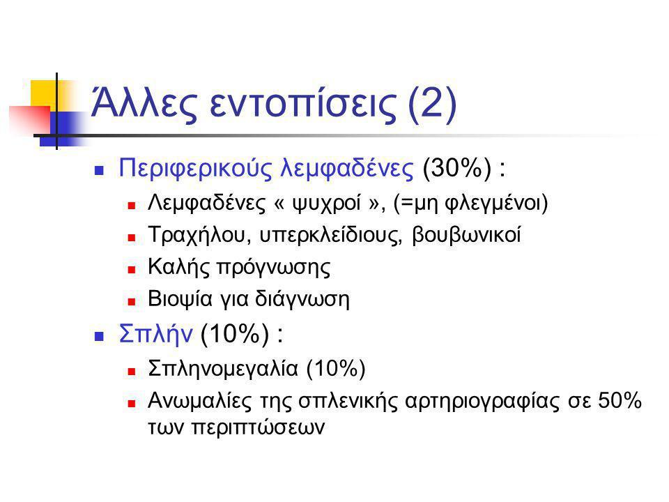 Άλλες εντοπίσεις (2) Περιφερικούς λεμφαδένες (30%) : Σπλήν (10%) :