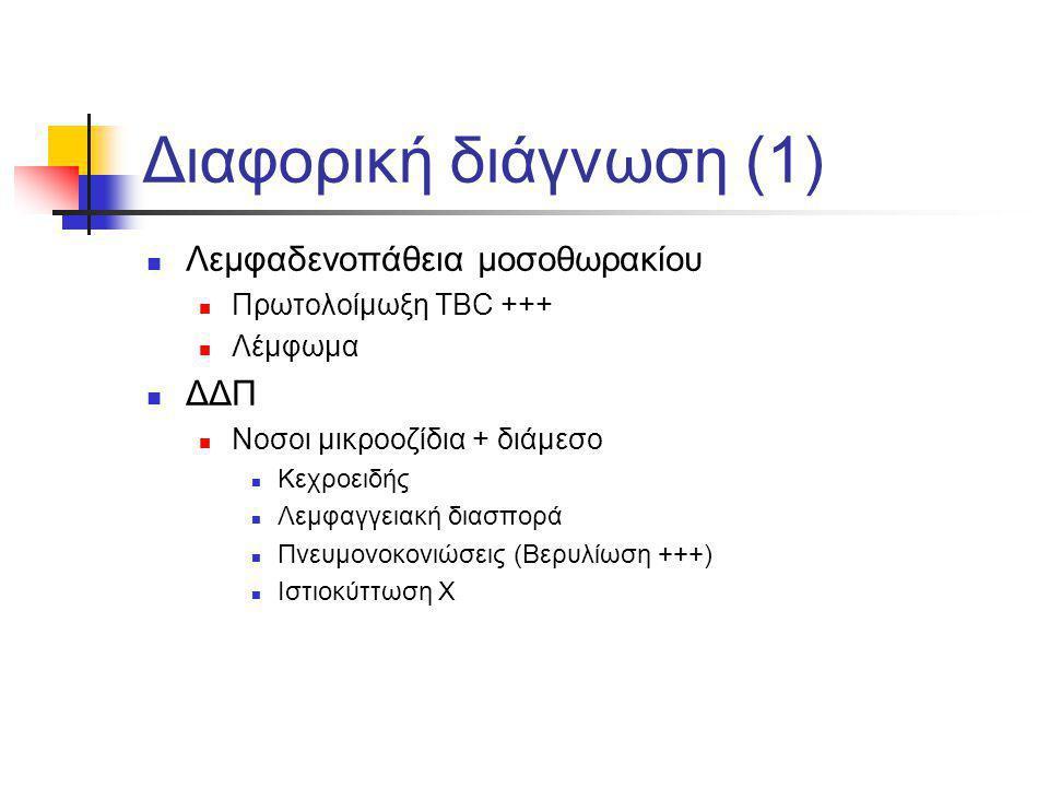 Διαφορική διάγνωση (1) Λεμφαδενοπάθεια μοσοθωρακίου ΔΔΠ