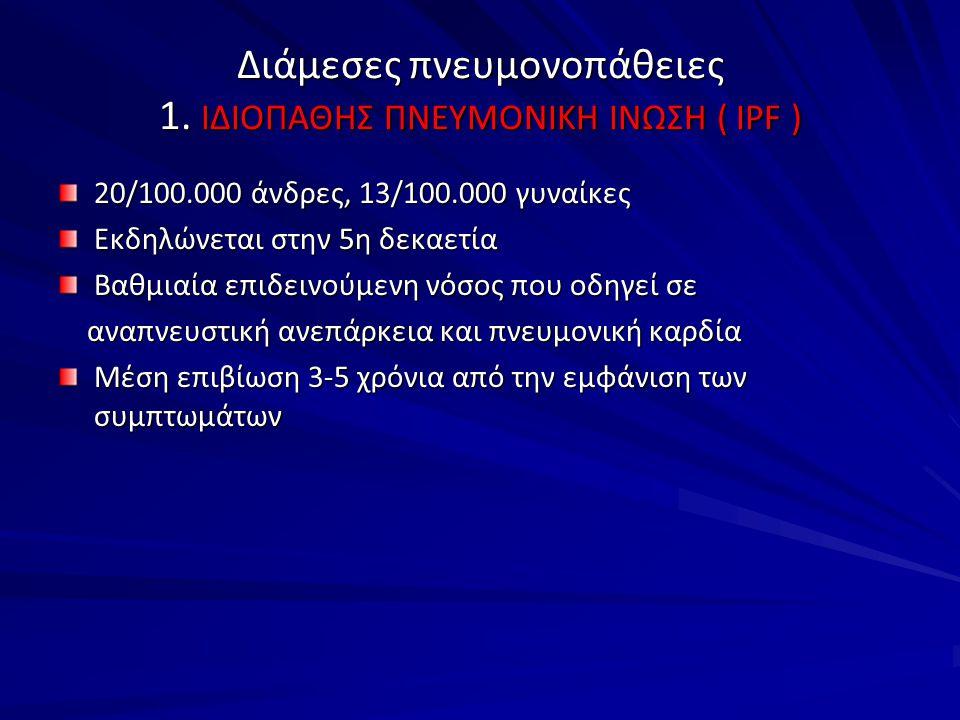Διάμεσες πνευμονοπάθειες 1. ΙΔΙΟΠΑΘΗΣ ΠΝΕΥΜΟΝΙΚΗ ΙΝΩΣΗ ( IPF )