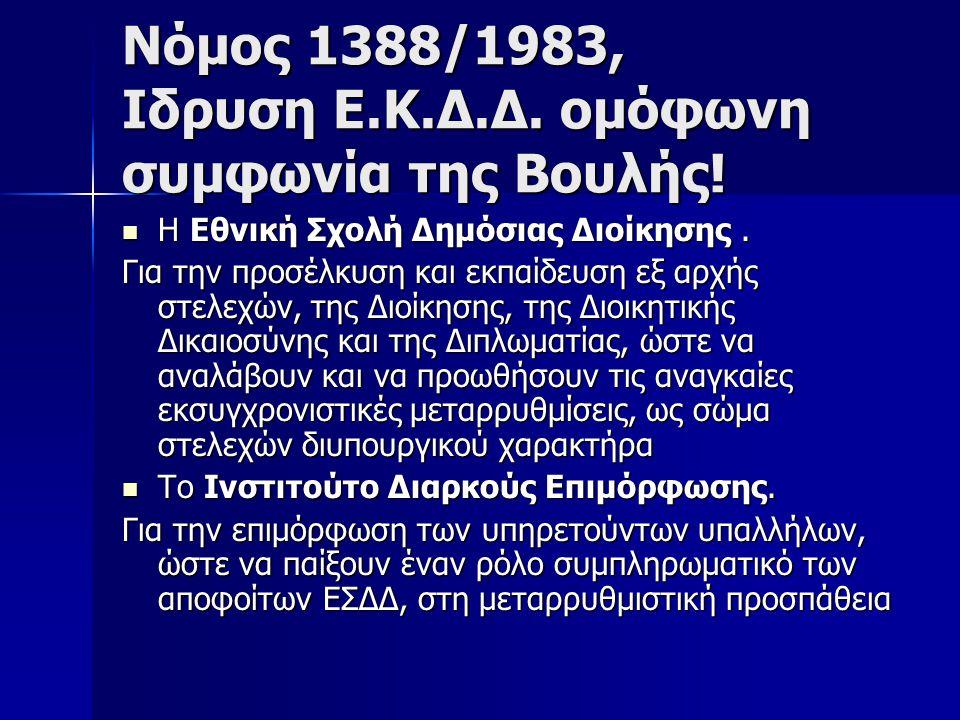Νόμος 1388/1983, Ιδρυση Ε.Κ.Δ.Δ. ομόφωνη συμφωνία της Βουλής!