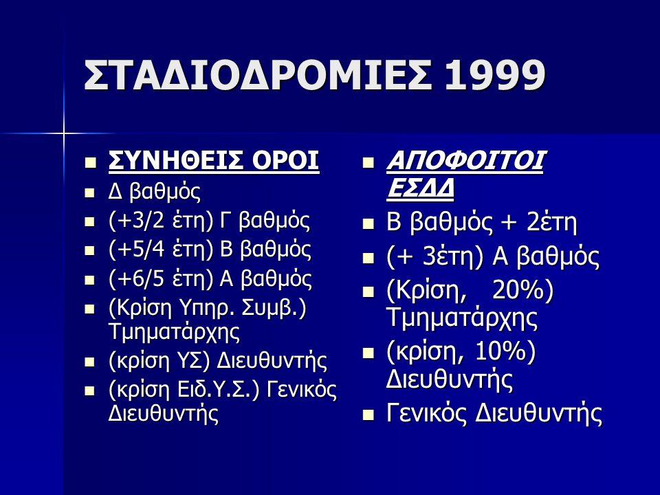 ΣΤΑΔΙΟΔΡΟΜΙΕΣ 1999 ΣΥΝΗΘΕΙΣ ΟΡΟΙ ΑΠΟΦΟΙΤΟΙ ΕΣΔΔ Β βαθμός + 2έτη