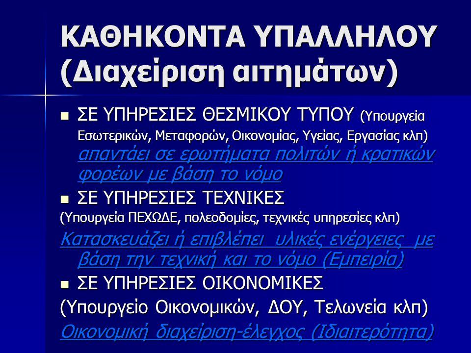 ΚΑΘΗΚΟΝΤΑ ΥΠΑΛΛΗΛΟΥ (Διαχείριση αιτημάτων)