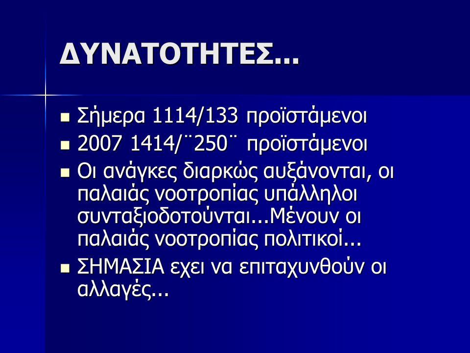 ΔΥΝΑΤΟΤΗΤΕΣ... Σήμερα 1114/133 προϊστάμενοι