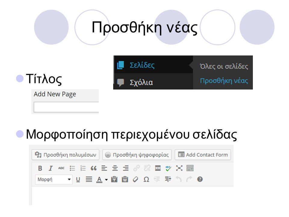 Προσθήκη νέας Τίτλος Μορφοποίηση περιεχομένου σελίδας