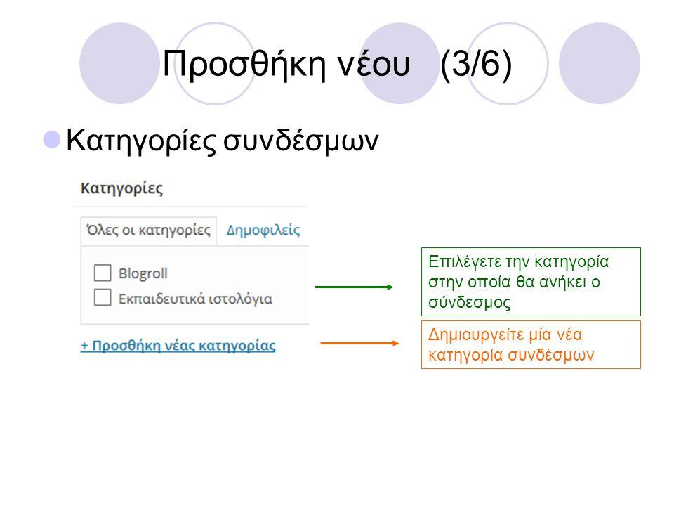 Προσθήκη νέου (3/6) Κατηγορίες συνδέσμων