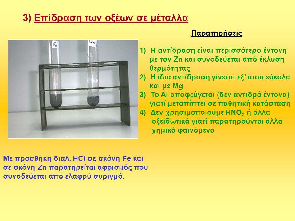 3) Επίδραση των οξέων σε μέταλλα