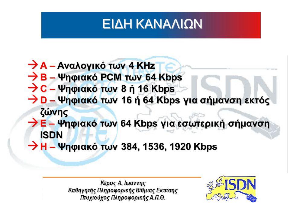 ΕΙΔΗ ΚΑΝΑΛΙΩΝ Α – Αναλογικό των 4 KHz B – Ψηφιακό PCM των 64 Kbps