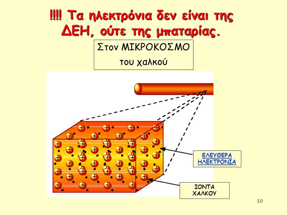 !!!! Τα ηλεκτρόνια δεν είναι της ΔΕΗ, ούτε της μπαταρίας.