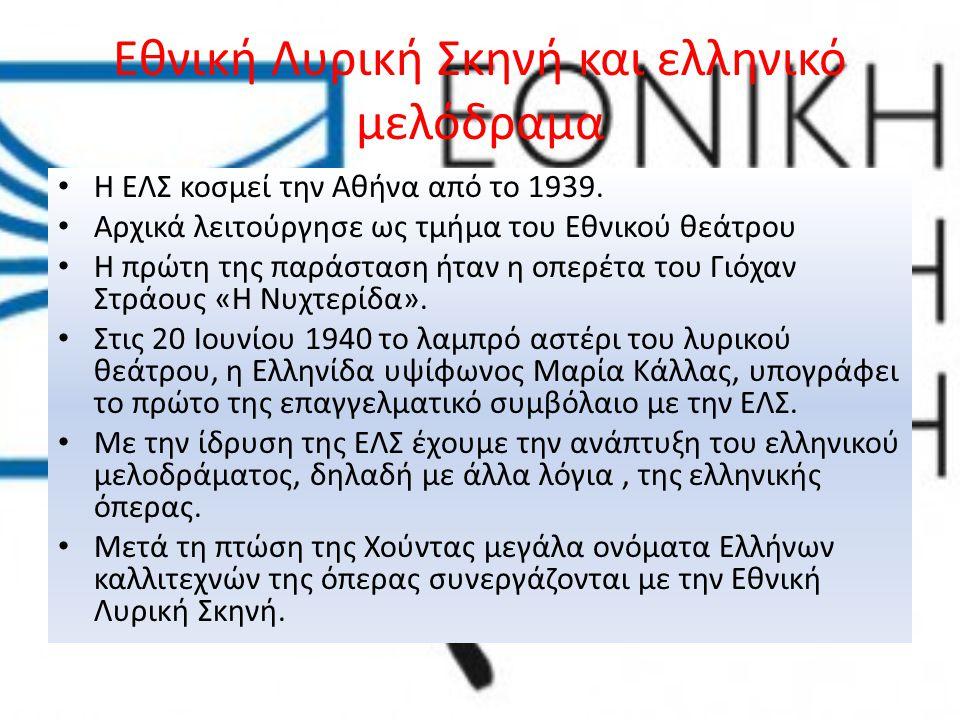 Εθνική Λυρική Σκηνή και ελληνικό μελόδραμα