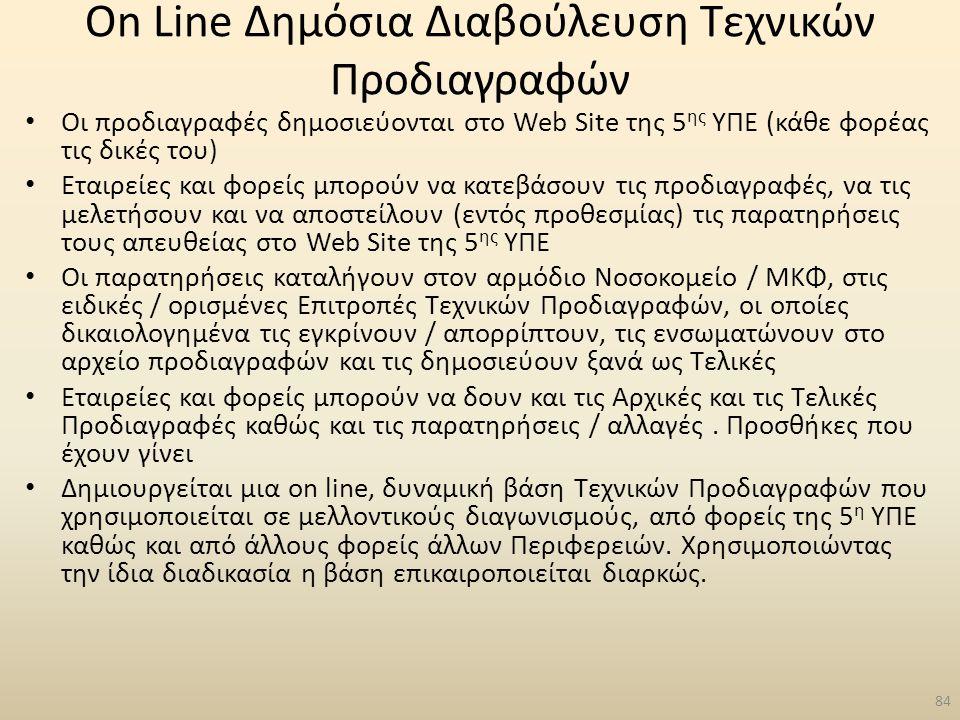On Line Δημόσια Διαβούλευση Τεχνικών Προδιαγραφών
