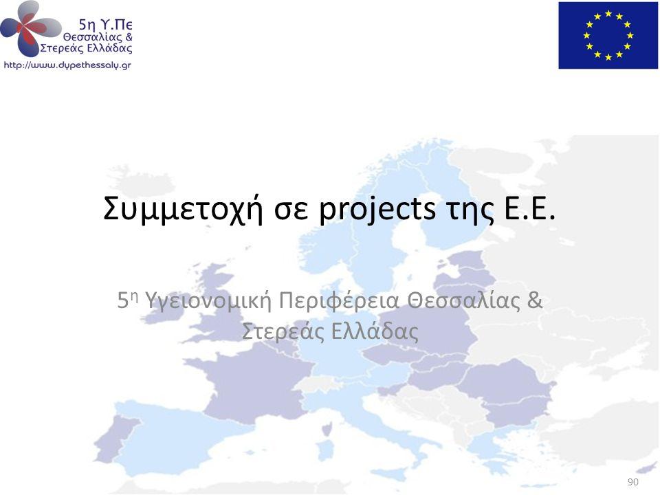 Συμμετοχή σε projects της Ε.Ε.