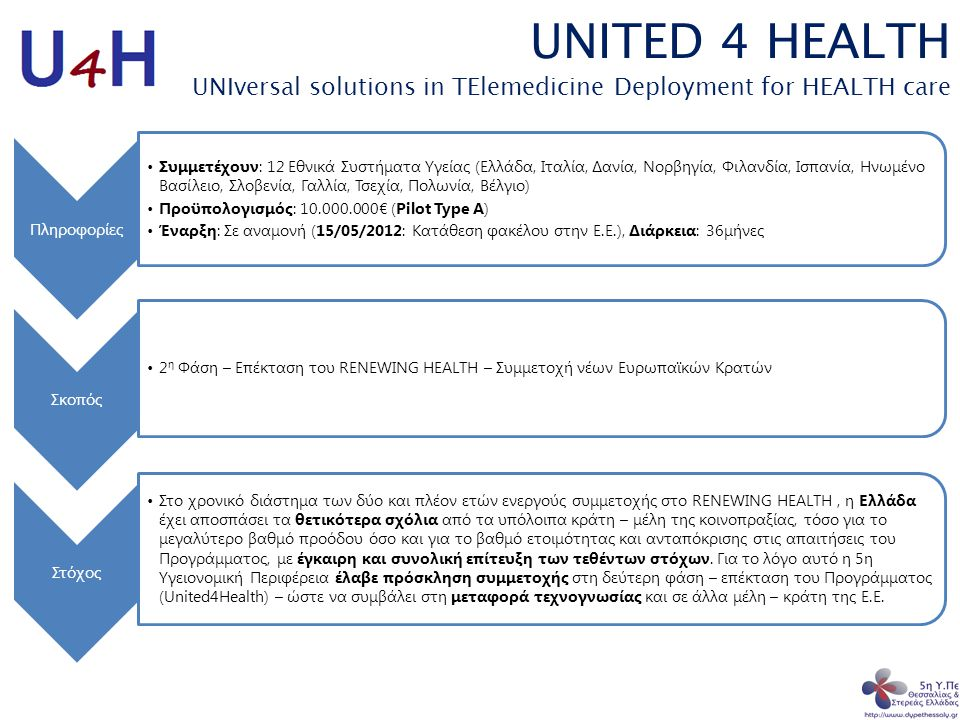 UNITED 4 HEALTH UNIversal solutions in TElemedicine Deployment for HEALTH care