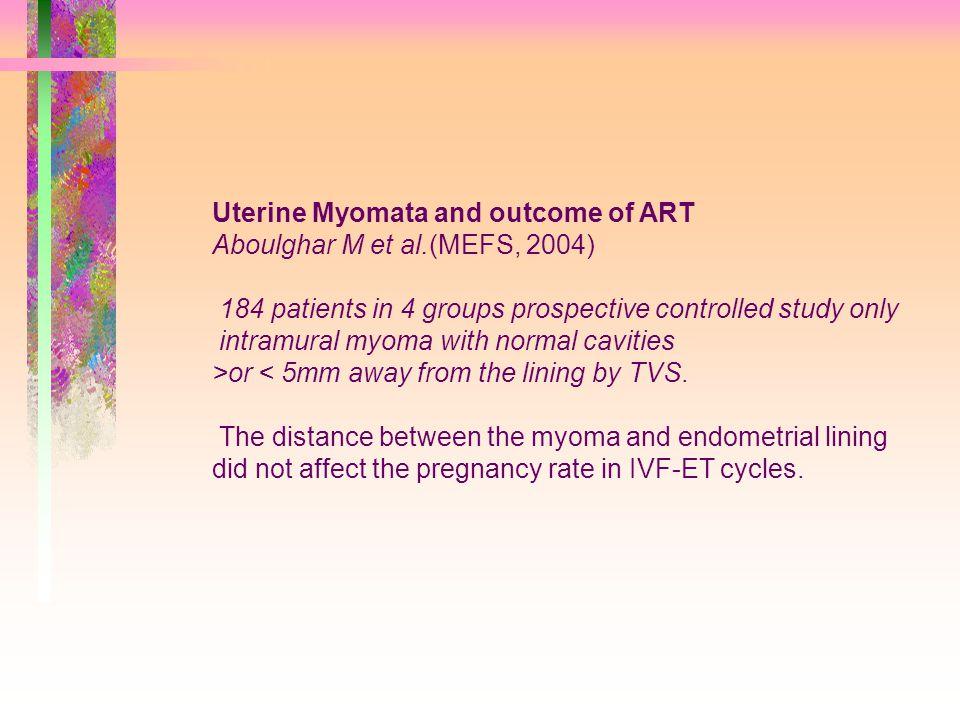 Uterine Myomata and outcome of ART Aboulghar M et al