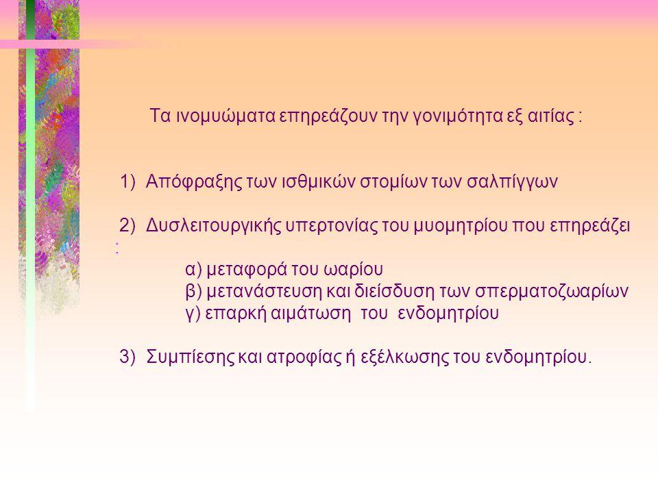 Τα ινομυώματα επηρεάζουν την γονιμότητα εξ αιτίας : 1) Απόφραξης των ισθμικών στομίων των σαλπίγγων 2) Δυσλειτουργικής υπερτονίας του μυομητρίου που επηρεάζει : α) μεταφορά του ωαρίου β) μετανάστευση και διείσδυση των σπερματοζωαρίων γ) επαρκή αιμάτωση του ενδομητρίου 3) Συμπίεσης και ατροφίας ή εξέλκωσης του ενδομητρίου.