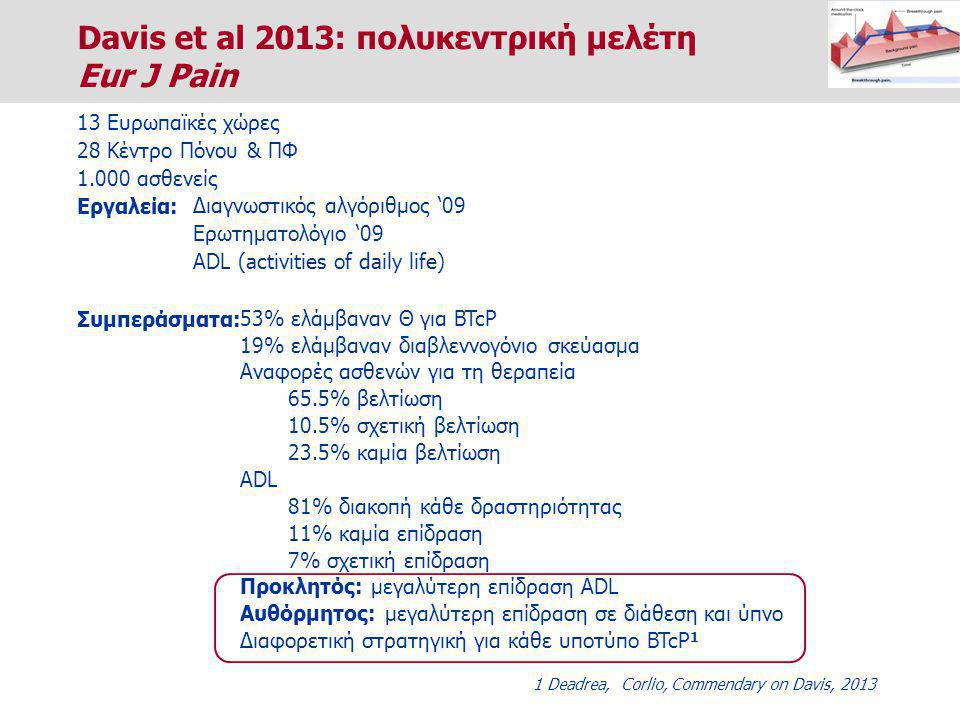 Davis et al 2013: πολυκεντρική μελέτη Eur J Pain