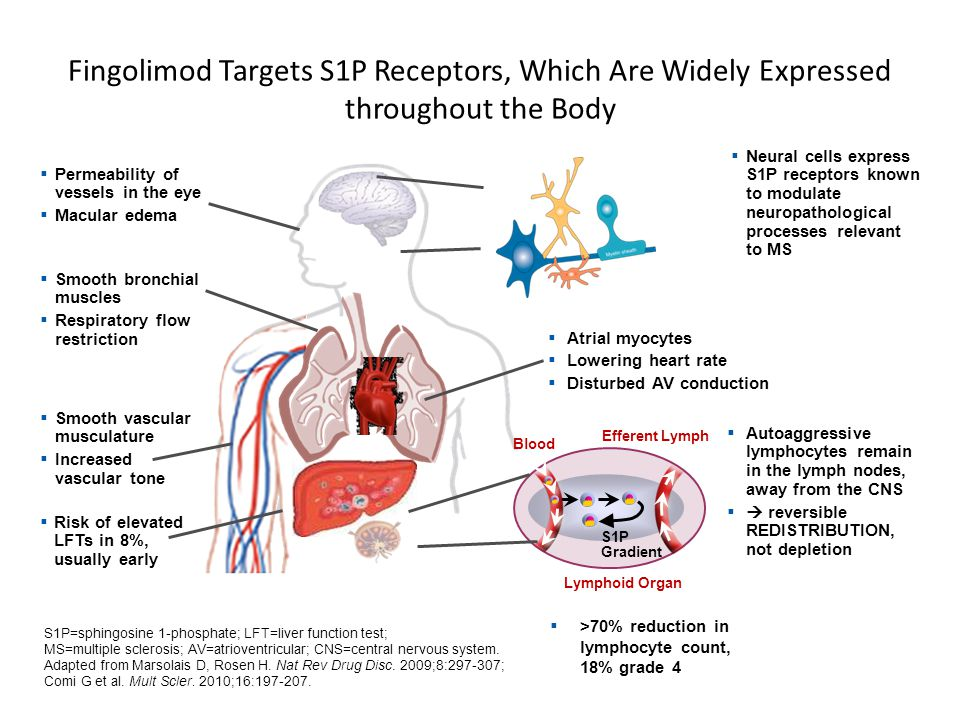 Fingolimod Targets S1P Receptors, Which Are Widely Expressed throughout the Body