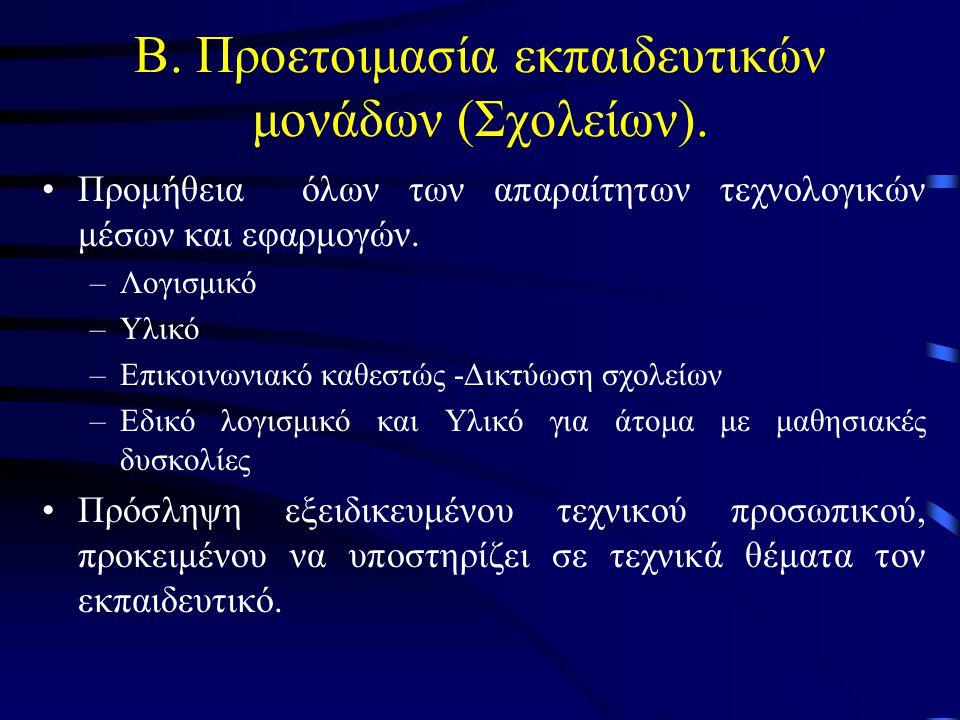 Β. Προετοιμασία εκπαιδευτικών μονάδων (Σχολείων).