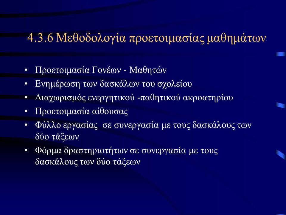 4.3.6 Μεθοδολογία προετοιμασίας μαθημάτων
