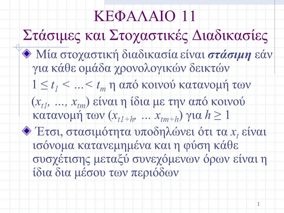 ΚΕΦΑΛΑΙΟ 11 Στάσιμες και Στοχαστικές Διαδικασίες
